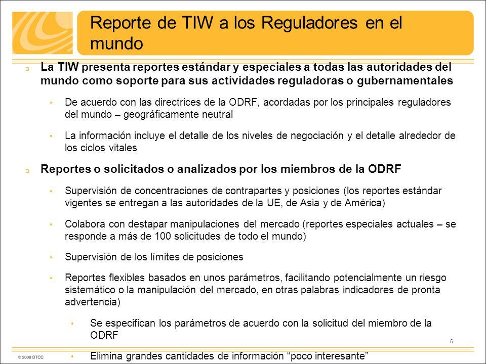 Reporte de TIW a los Reguladores en el mundo La TIW presenta reportes estándar y especiales a todas las autoridades del mundo como soporte para sus ac