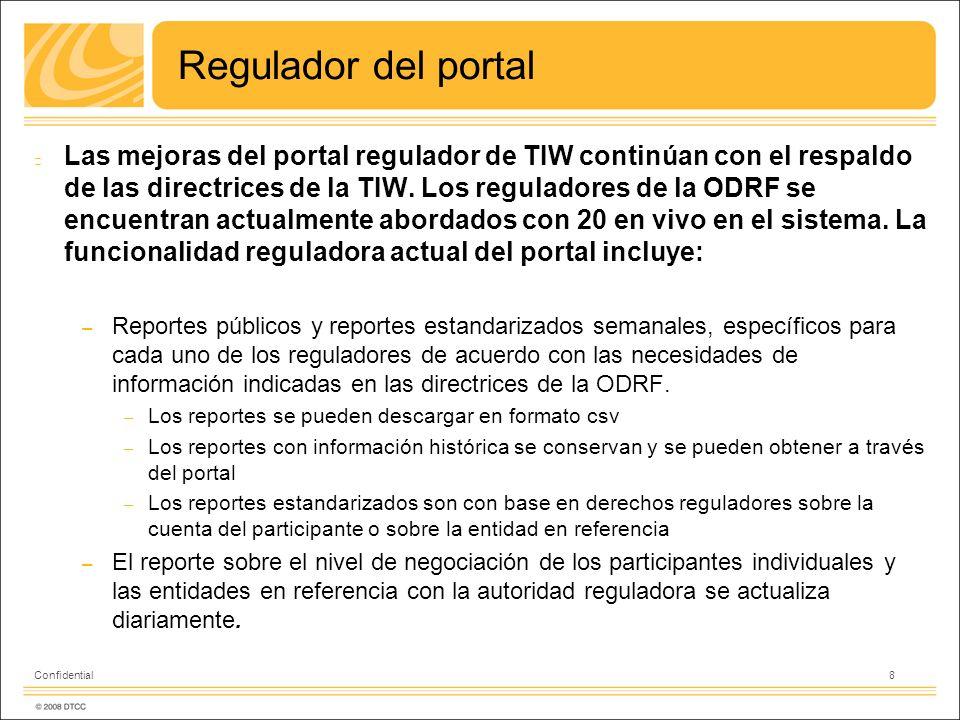 Regulador del portal Las mejoras del portal regulador de TIW continúan con el respaldo de las directrices de la TIW. Los reguladores de la ODRF se enc