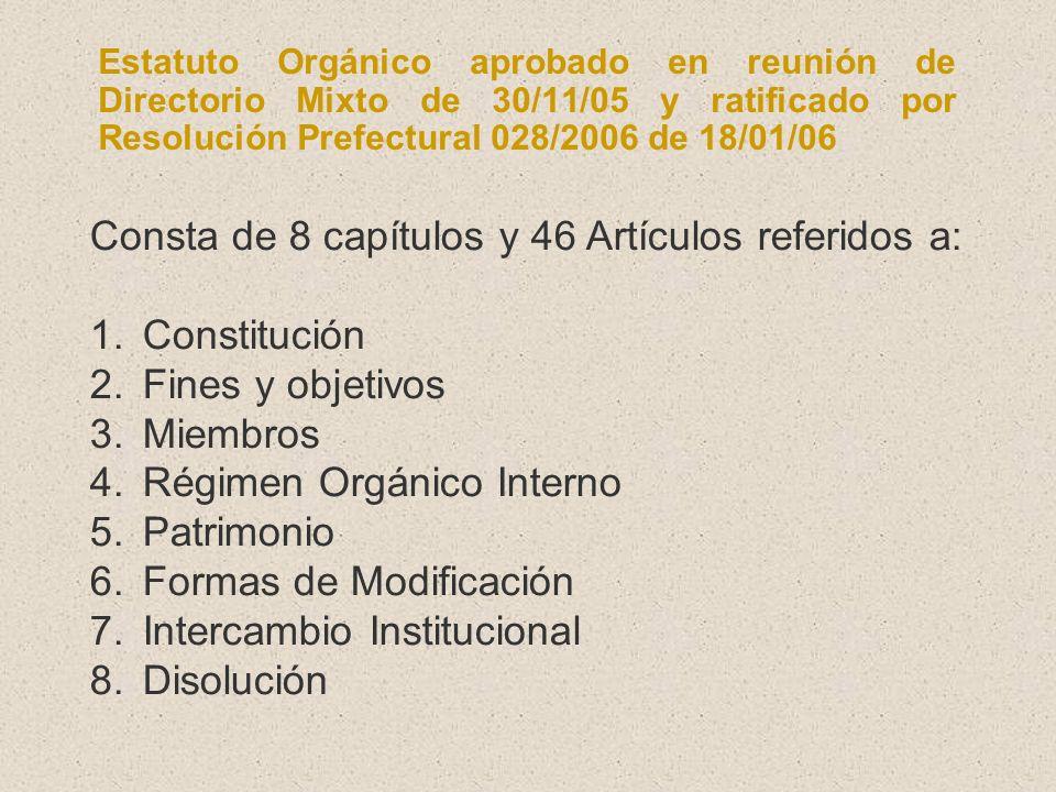 Estatuto Orgánico aprobado en reunión de Directorio Mixto de 30/11/05 y ratificado por Resolución Prefectural 028/2006 de 18/01/06 Consta de 8 capítul