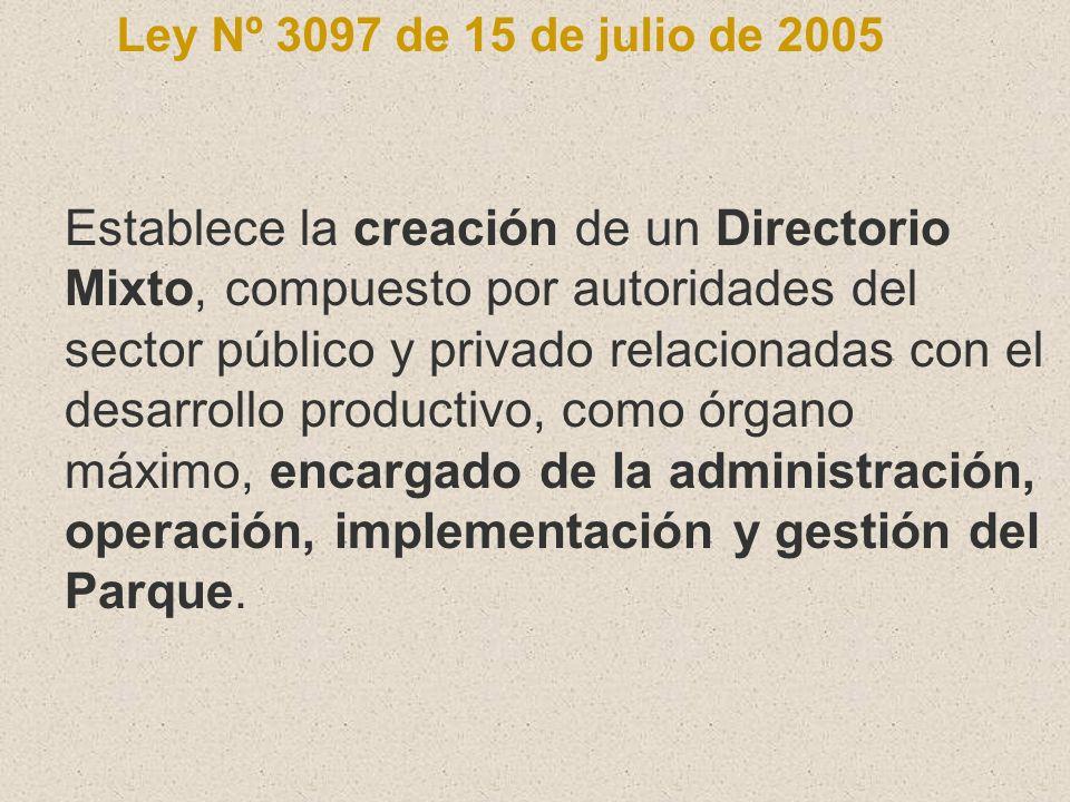 Ley Nº 3097 de 15 de julio de 2005 Establece la creación de un Directorio Mixto, compuesto por autoridades del sector público y privado relacionadas c