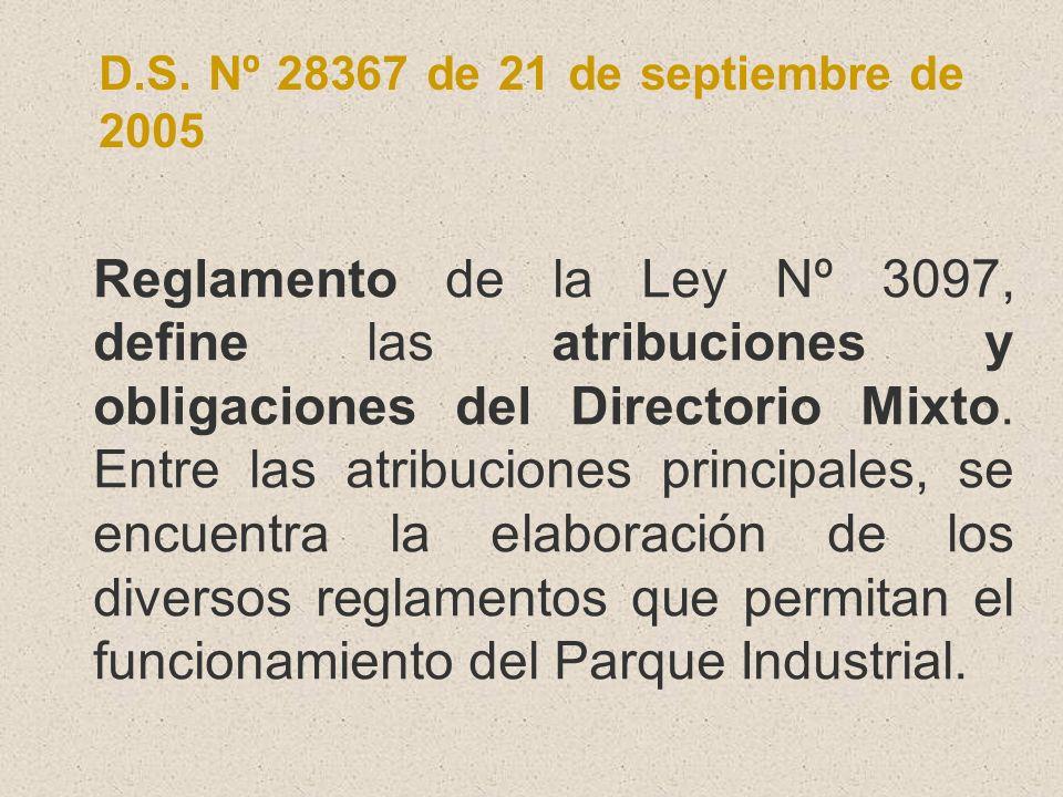 D.S. Nº 28367 de 21 de septiembre de 2005 Reglamento de la Ley Nº 3097, define las atribuciones y obligaciones del Directorio Mixto. Entre las atribuc