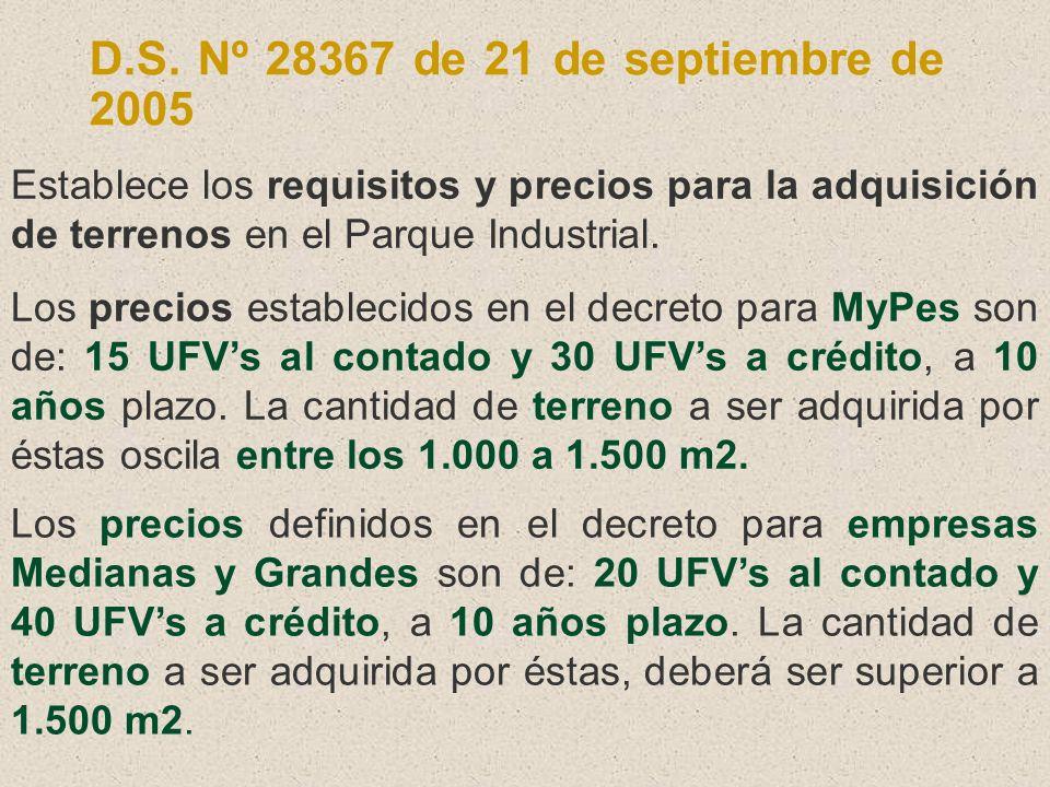 D.S. Nº 28367 de 21 de septiembre de 2005 Establece los requisitos y precios para la adquisición de terrenos en el Parque Industrial. Los precios esta