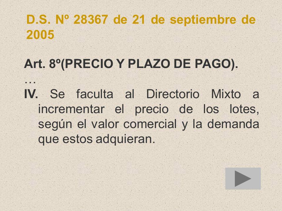 D.S. Nº 28367 de 21 de septiembre de 2005 Art. 8º(PRECIO Y PLAZO DE PAGO). … IV. Se faculta al Directorio Mixto a incrementar el precio de los lotes,