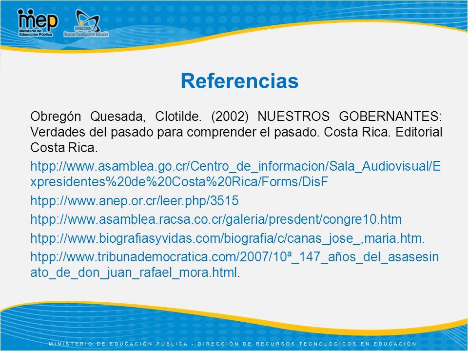 Referencias Obregón Quesada, Clotilde.