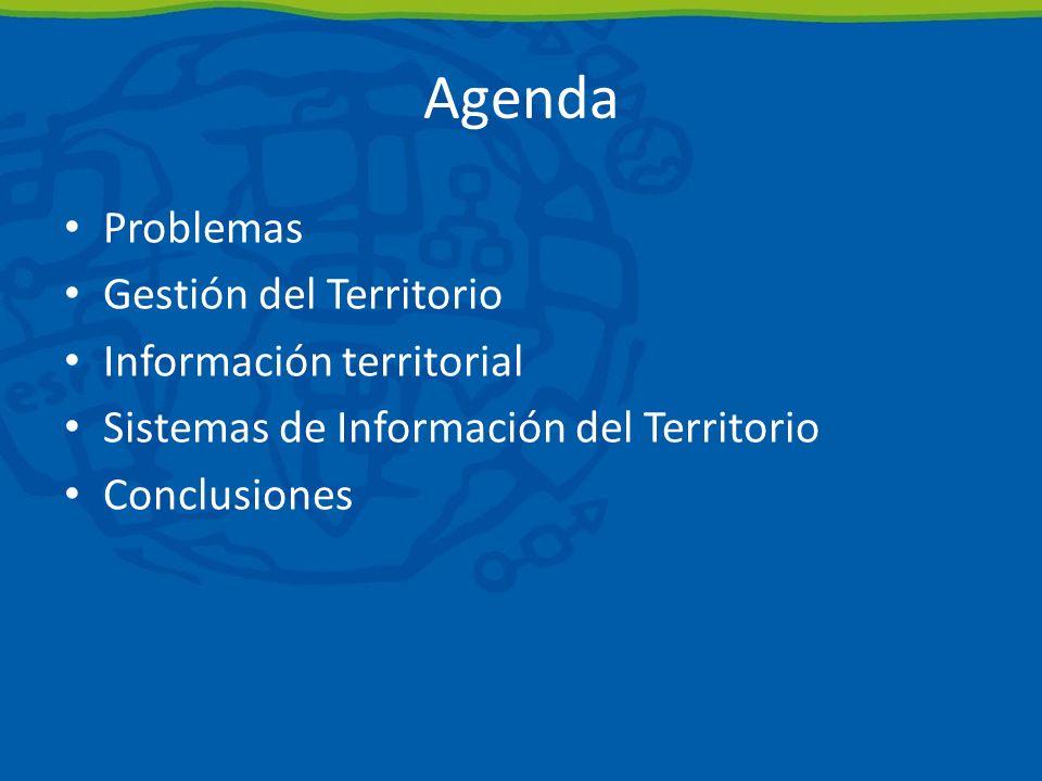 Agenda Problemas Gestión del Territorio Información territorial Sistemas de Información del Territorio Conclusiones