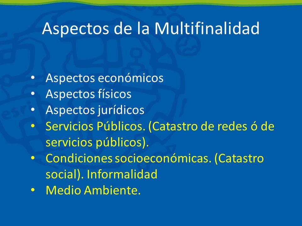 Aspectos de la Multifinalidad Aspectos económicos Aspectos físicos Aspectos jurídicos Servicios Públicos.