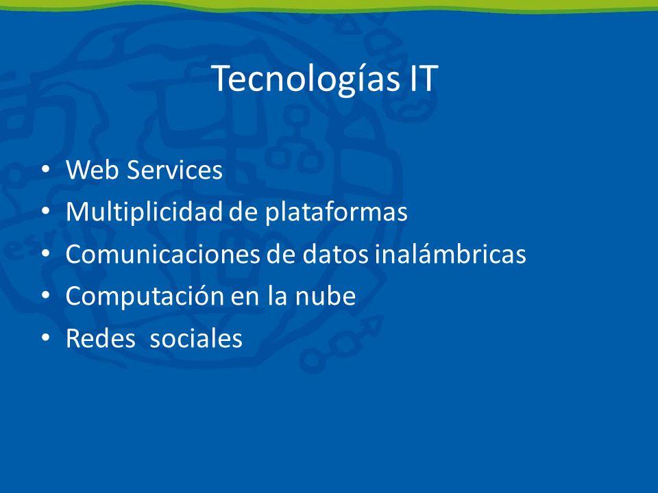 Tecnologías IT Web Services Multiplicidad de plataformas Comunicaciones de datos inalámbricas Computación en la nube Redes sociales