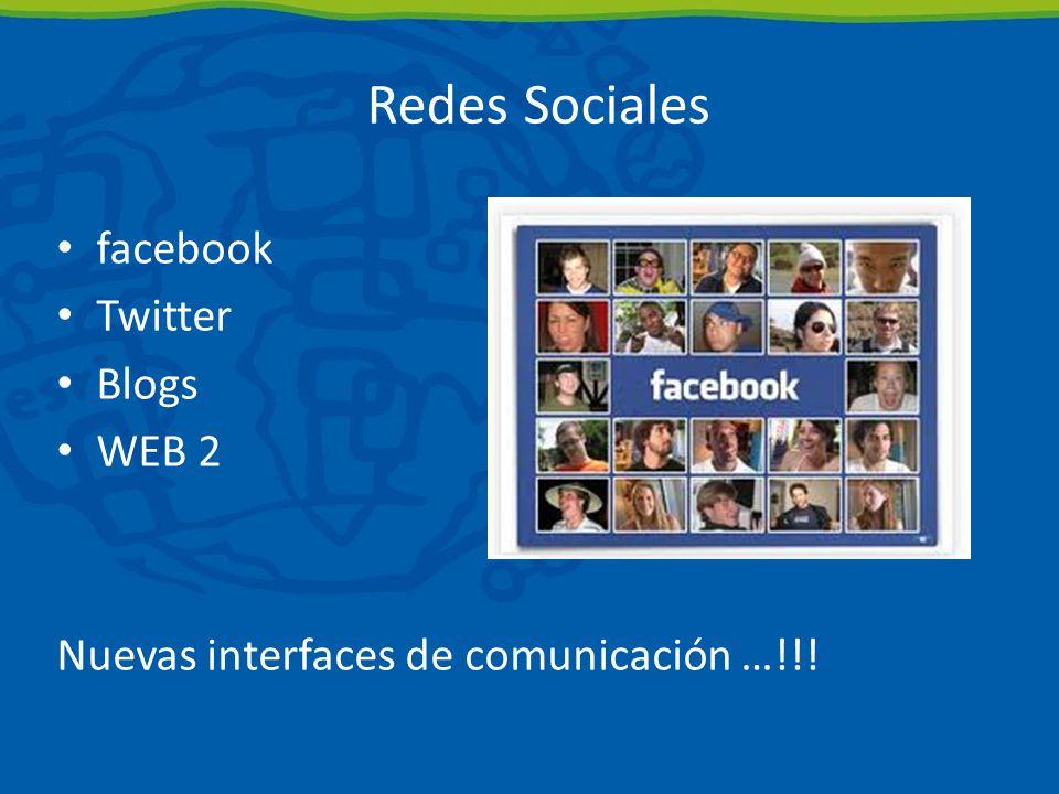 Redes Sociales facebook Twitter Blogs WEB 2 Nuevas interfaces de comunicación …!!!
