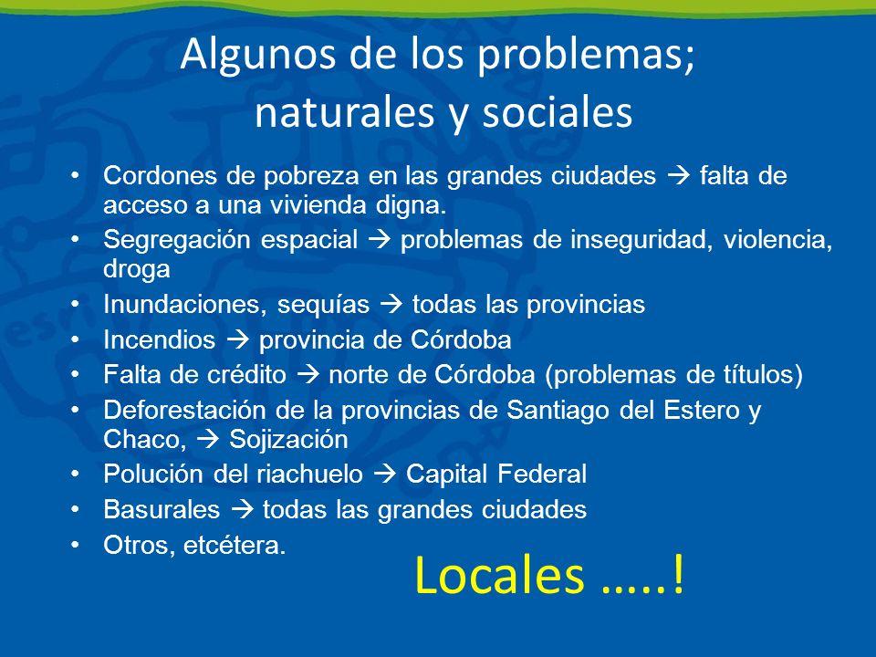 Algunos de los problemas; naturales y sociales Cordones de pobreza en las grandes ciudades falta de acceso a una vivienda digna.