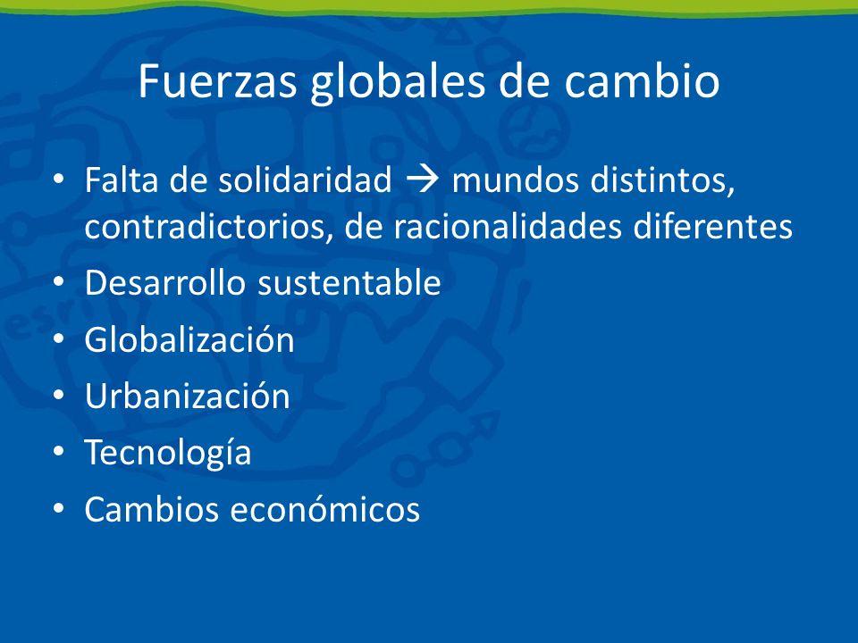 Fuerzas globales de cambio Falta de solidaridad mundos distintos, contradictorios, de racionalidades diferentes Desarrollo sustentable Globalización Urbanización Tecnología Cambios económicos