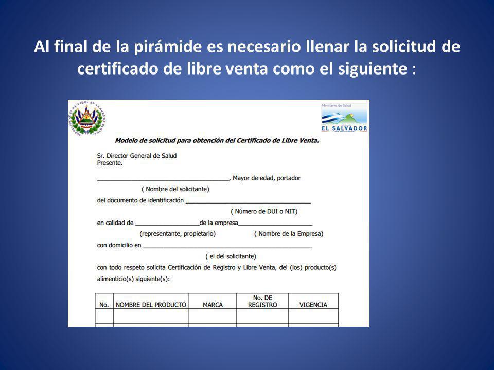 Al final de la pirámide es necesario llenar la solicitud de certificado de libre venta como el siguiente :