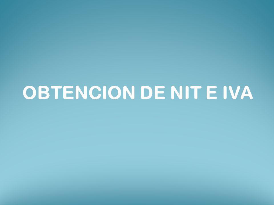 OBTENCION DE NIT E IVA