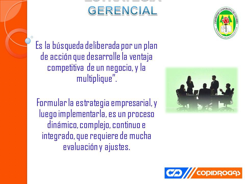 Es la búsqueda deliberada por un plan de acción que desarrolle la ventaja competitiva de un negocio, y la multiplique.