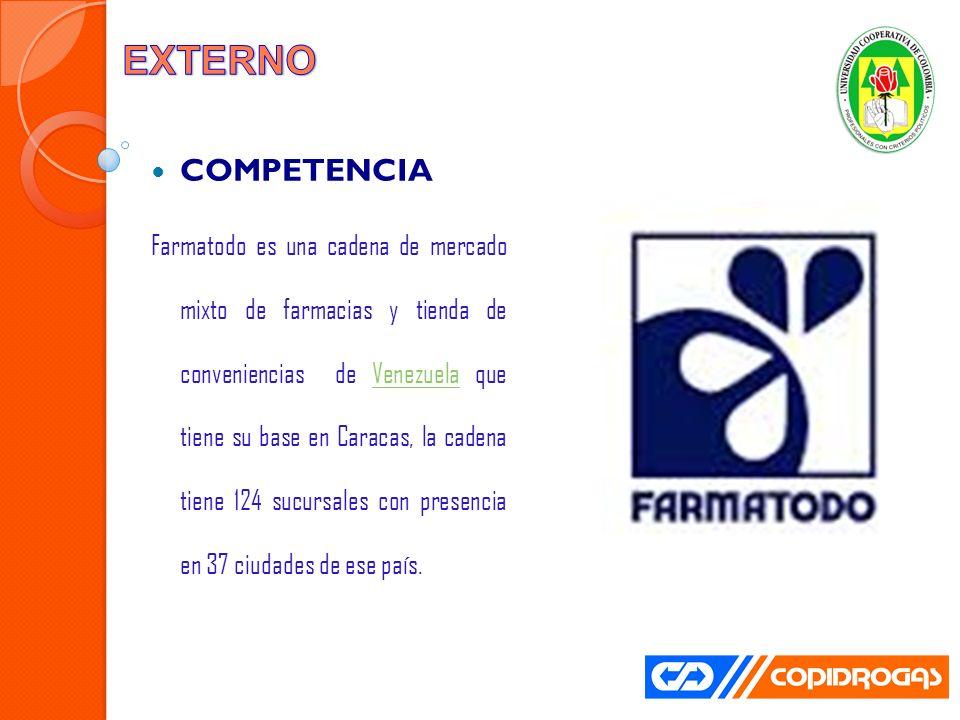 COMPETENCIA Farmatodo es una cadena de mercado mixto de farmacias y tienda de conveniencias de Venezuela que tiene su base en Caracas, la cadena tiene 124 sucursales con presencia en 37 ciudades de ese país.Venezuela