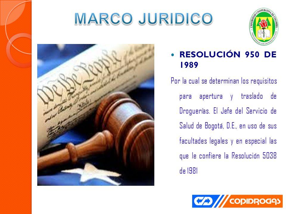 RESOLUCIÓN 950 DE 1989 Por la cual se determinan los requisitos para apertura y traslado de Droguerías.