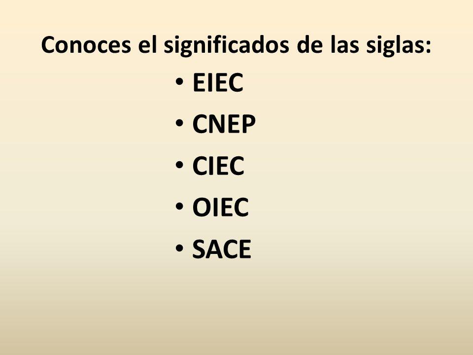Conoces el significados de las siglas: EIEC CNEP CIEC OIEC SACE