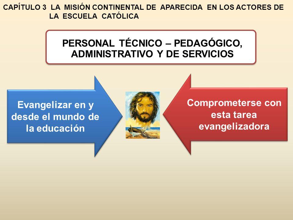 CAPÍTULO 3 LA MISIÓN CONTINENTAL DE APARECIDA EN LOS ACTORES DE LA ESCUELA CATÓLICA PERSONAL TÉCNICO – PEDAGÓGICO, ADMINISTRATIVO Y DE SERVICIOS Evangelizar en y desde el mundo de la educación Comprometerse con esta tarea evangelizadora