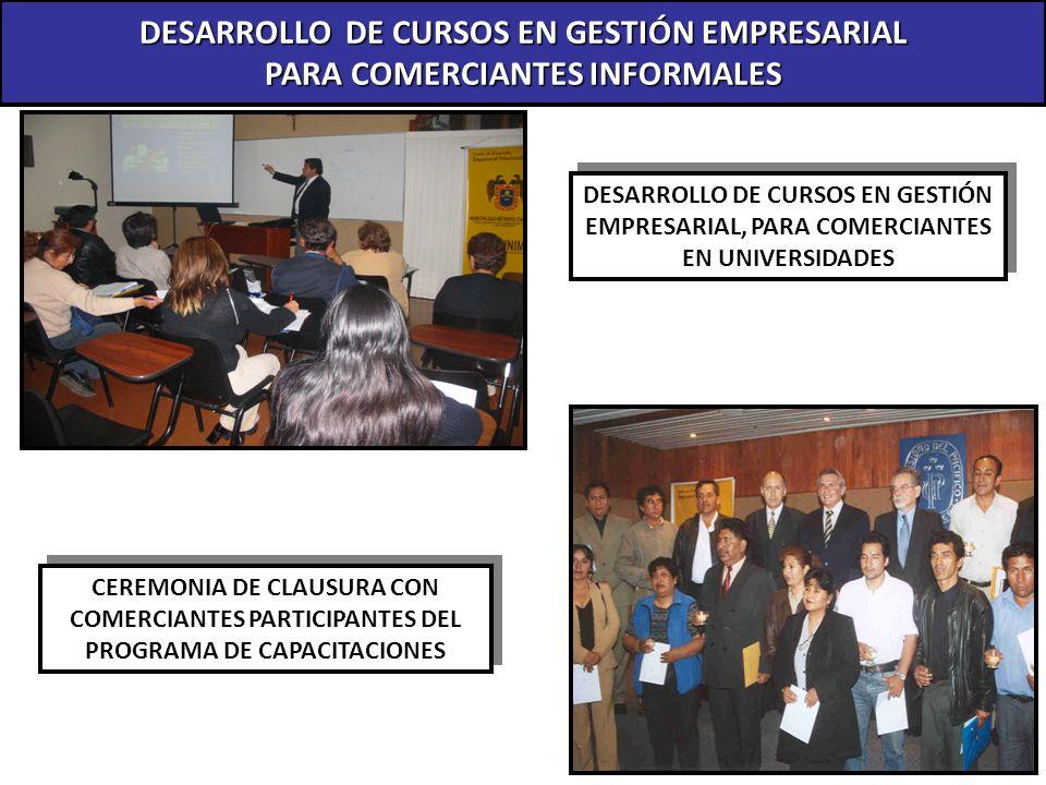 DESARROLLO DE CURSOS EN GESTIÓN EMPRESARIAL PARA COMERCIANTES INFORMALES DESARROLLO DE CURSOS EN GESTIÓN EMPRESARIAL, PARA COMERCIANTES EN UNIVERSIDAD