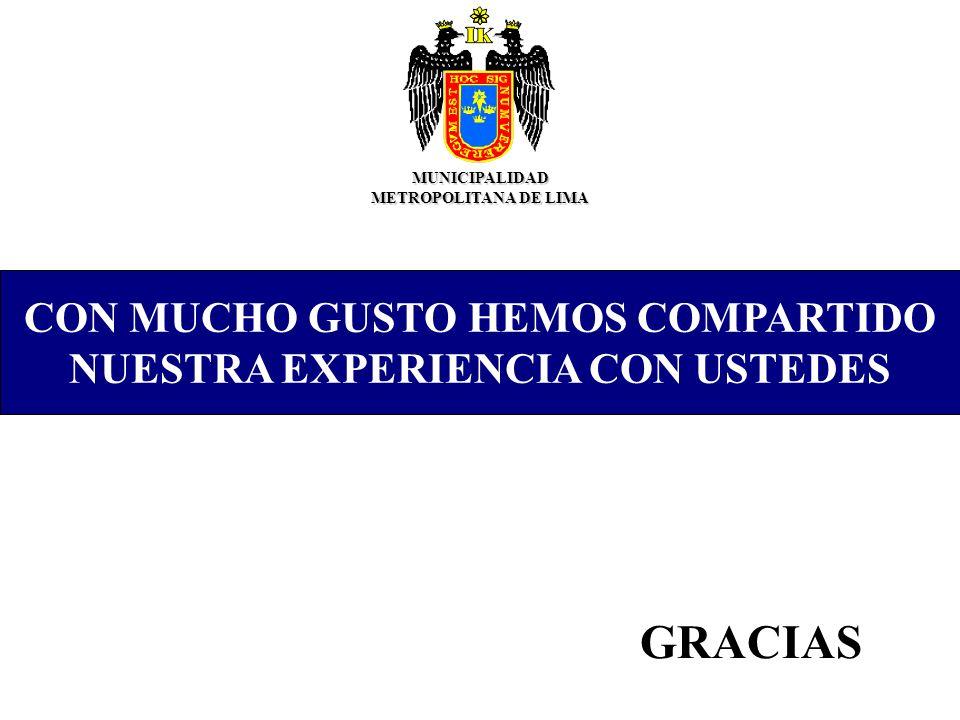 CON MUCHO GUSTO HEMOS COMPARTIDO NUESTRA EXPERIENCIA CON USTEDES MUNICIPALIDAD METROPOLITANA DE LIMA GRACIAS