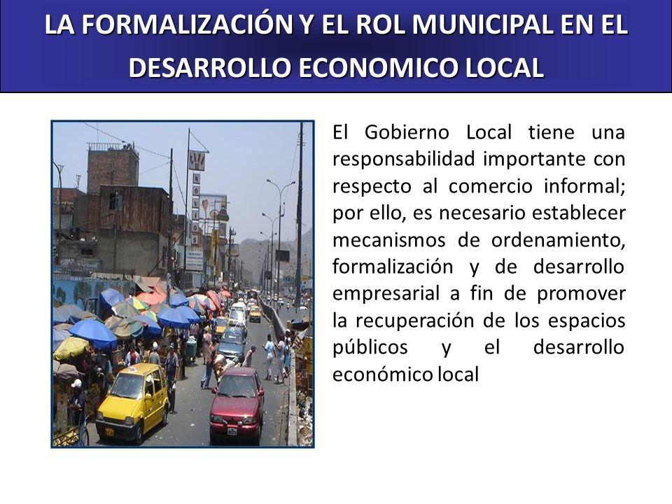 Octubre del 2004 LA FORMALIZACIÓN Y EL ROL MUNICIPAL EN EL DESARROLLO ECONOMICO LOCAL El Gobierno Local tiene una responsabilidad importante con respe