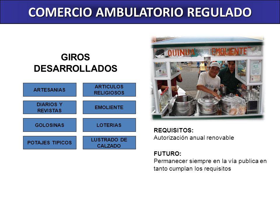COMERCIO AMBULATORIO REGULADO REQUISITOS: Autorización anual renovable FUTURO: Permanecer siempre en la vía publica en tanto cumplan los requisitos GI