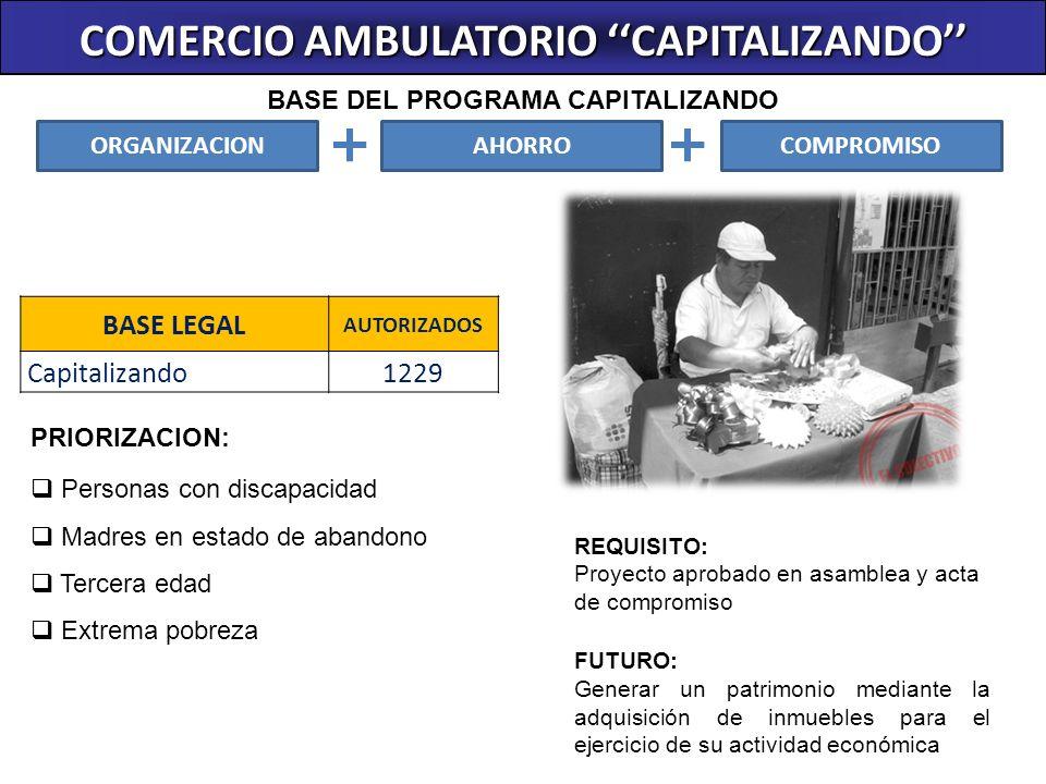BASE LEGAL AUTORIZADOS Capitalizando1229 COMERCIO AMBULATORIO CAPITALIZANDO REQUISITO: Proyecto aprobado en asamblea y acta de compromiso FUTURO: Gene