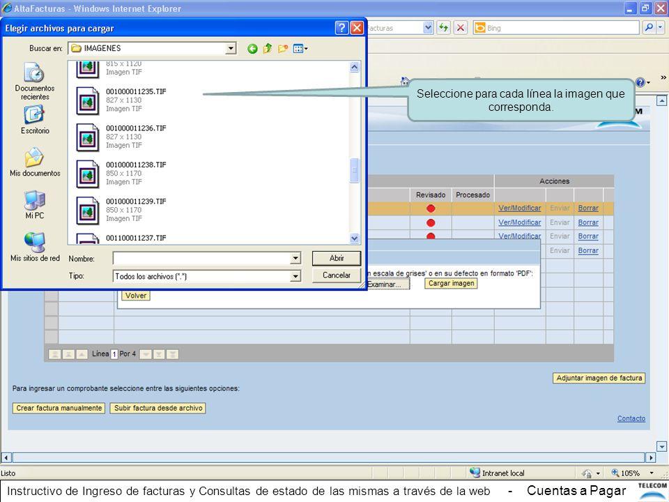 Seleccione para cada línea la imagen que corresponda. Instructivo de Ingreso de facturas y Consultas de estado de las mismas a través de la web - Cuen
