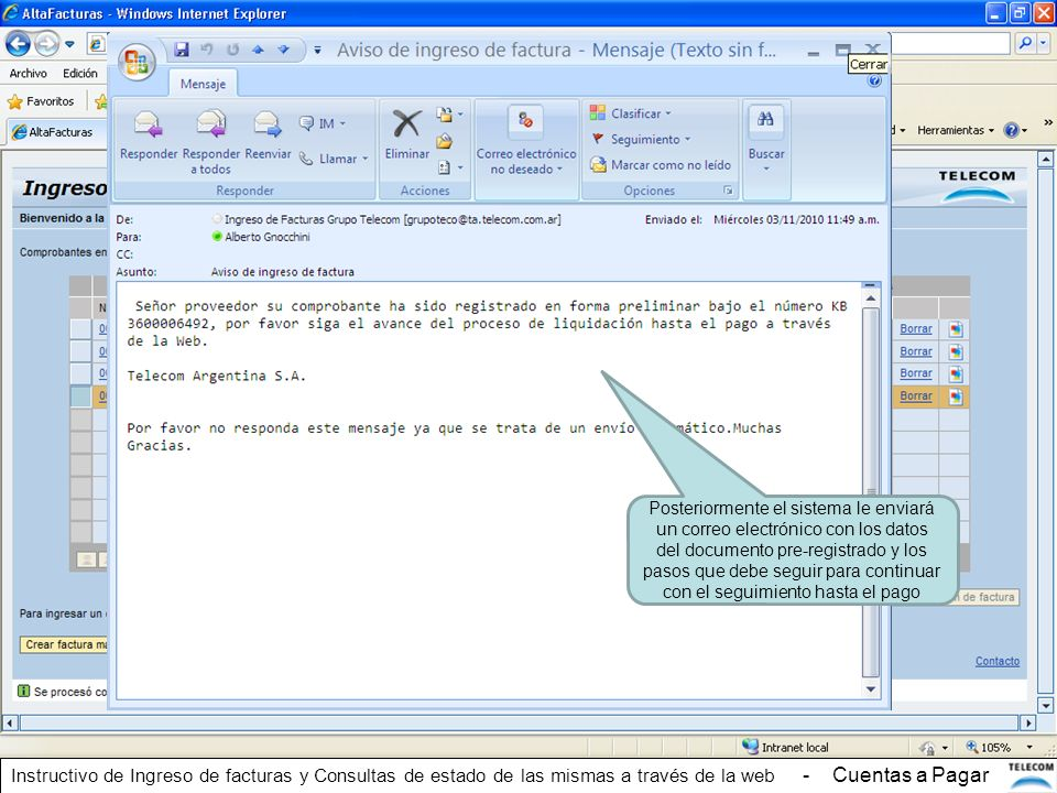 Posteriormente el sistema le enviará un correo electrónico con los datos del documento pre-registrado y los pasos que debe seguir para continuar con e