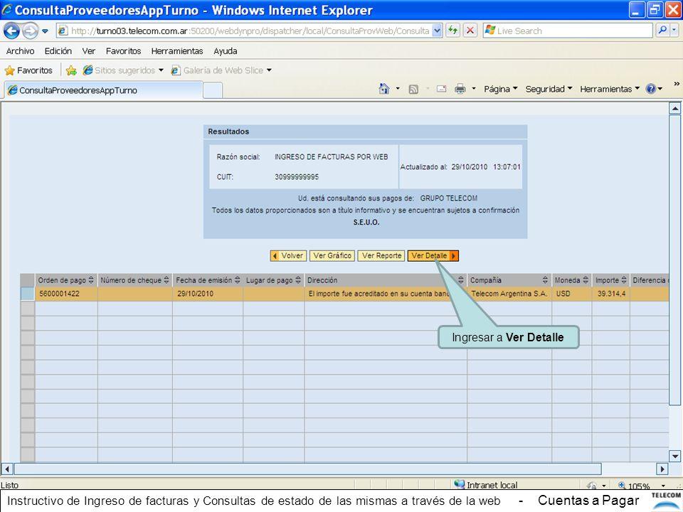 Ingresar a Ver Detalle Instructivo de Ingreso de facturas y Consultas de estado de las mismas a través de la web - Cuentas a Pagar
