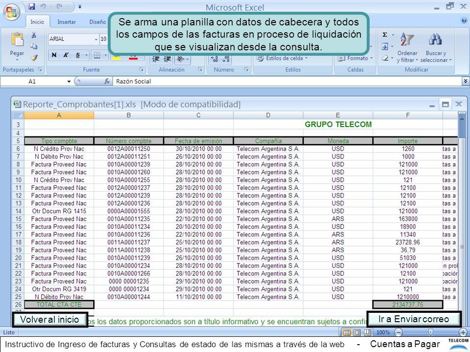 Se arma una planilla con datos de cabecera y todos los campos de las facturas en proceso de liquidación que se visualizan desde la consulta. Volver al