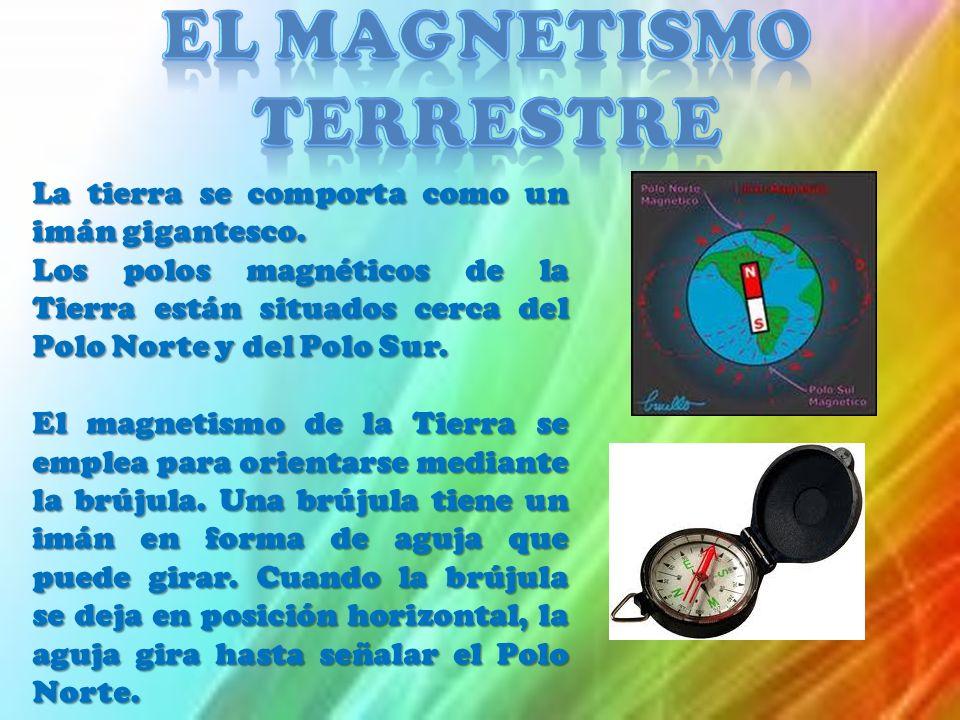 La tierra se comporta como un imán gigantesco. Los polos magnéticos de la Tierra están situados cerca del Polo Norte y del Polo Sur. El magnetismo de