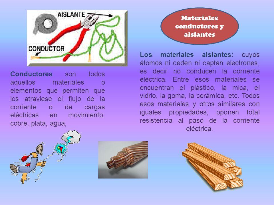 Conductores son todos aquellos materiales o elementos que permiten que los atraviese el flujo de la corriente o de cargas eléctricas en movimiento: co