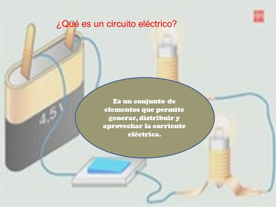 ¿Qué es un circuito eléctrico? Es un conjunto de elementos que permite generar, distribuir y aprovechar la corriente eléctrica.