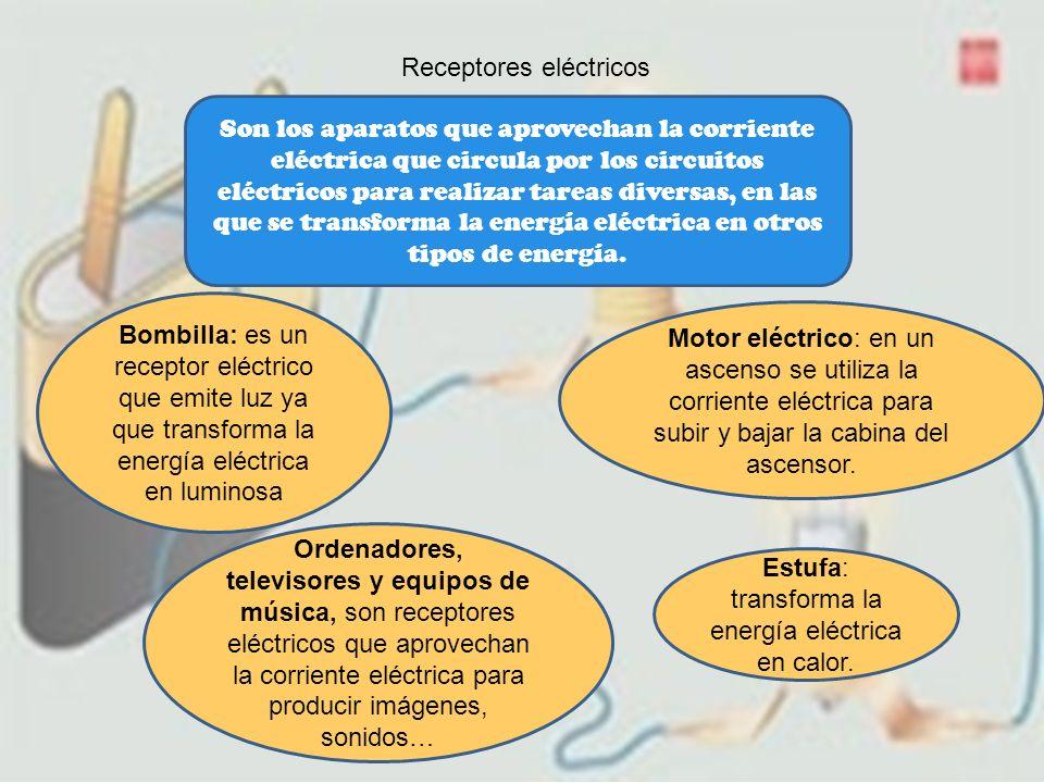 Receptores eléctricos Son los aparatos que aprovechan la corriente eléctrica que circula por los circuitos eléctricos para realizar tareas diversas, e