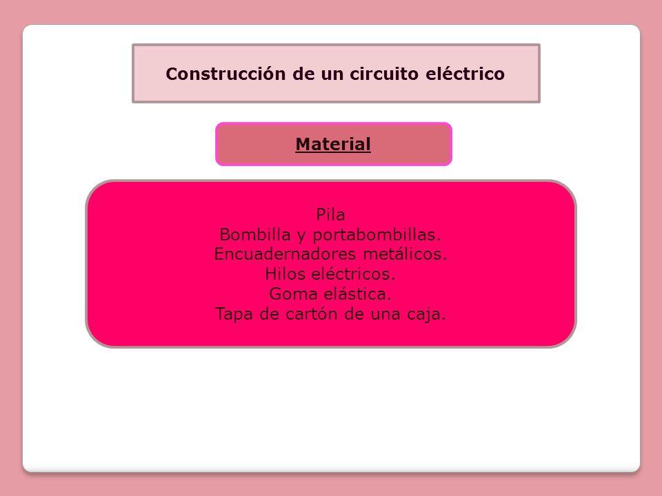 Construcción de un circuito eléctrico Material Pila Bombilla y portabombillas. Encuadernadores metálicos. Hilos eléctricos. Goma elástica. Tapa de car