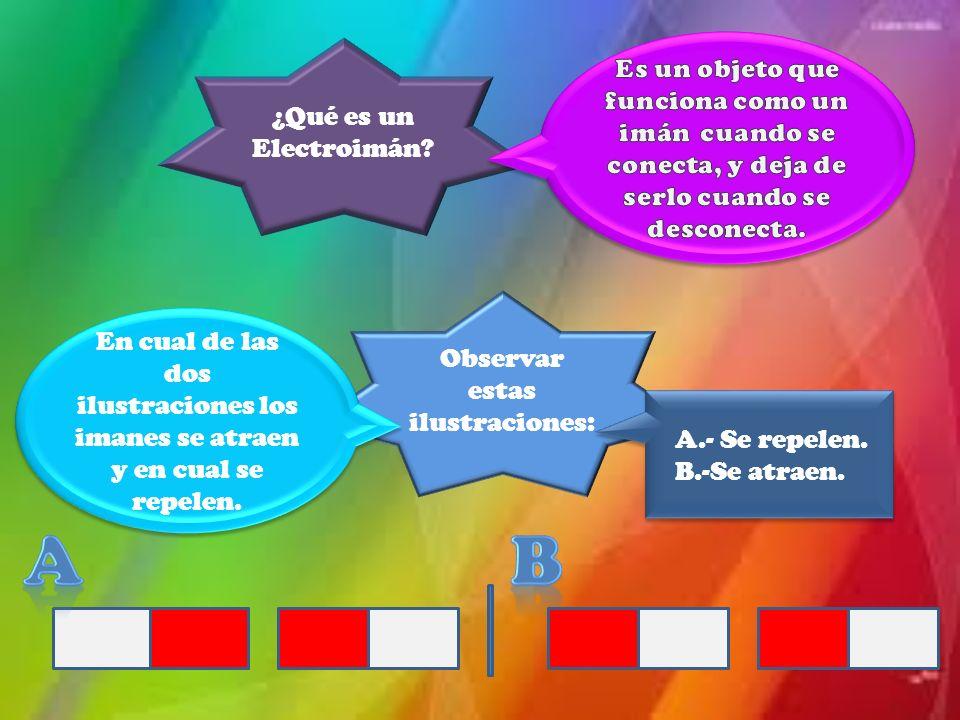 ¿Qué es un Electroimán? Observar estas ilustraciones: En cual de las dos ilustraciones los imanes se atraen y en cual se repelen. En cual de las dos i
