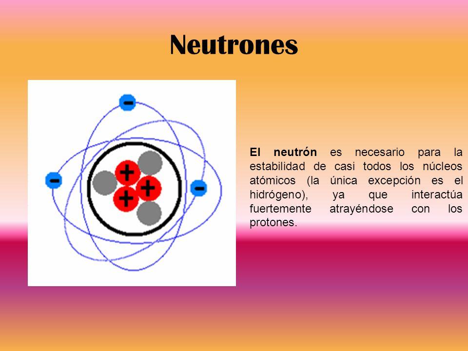 Neutrones El neutrón es necesario para la estabilidad de casi todos los núcleos atómicos (la única excepción es el hidrógeno), ya que interactúa fuert