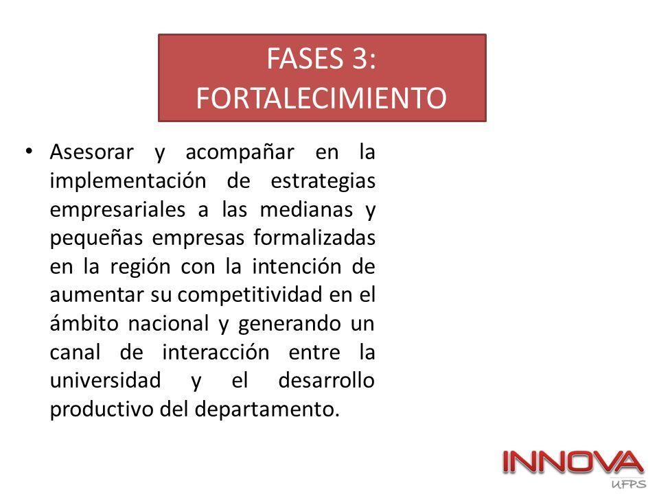 FASES 3: FORTALECIMIENTO Asesorar y acompañar en la implementación de estrategias empresariales a las medianas y pequeñas empresas formalizadas en la
