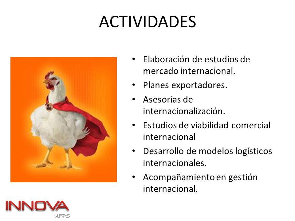 ACTIVIDADES Elaboración de estudios de mercado internacional. Planes exportadores. Asesorías de internacionalización. Estudios de viabilidad comercial
