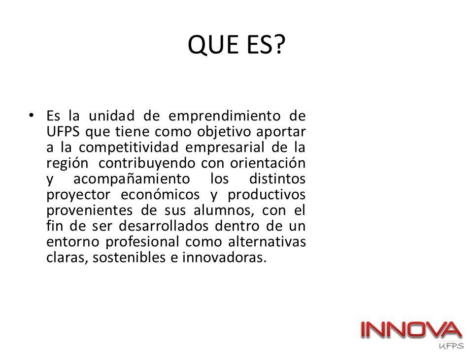 QUE ES? Es la unidad de emprendimiento de UFPS que tiene como objetivo aportar a la competitividad empresarial de la región contribuyendo con orientac