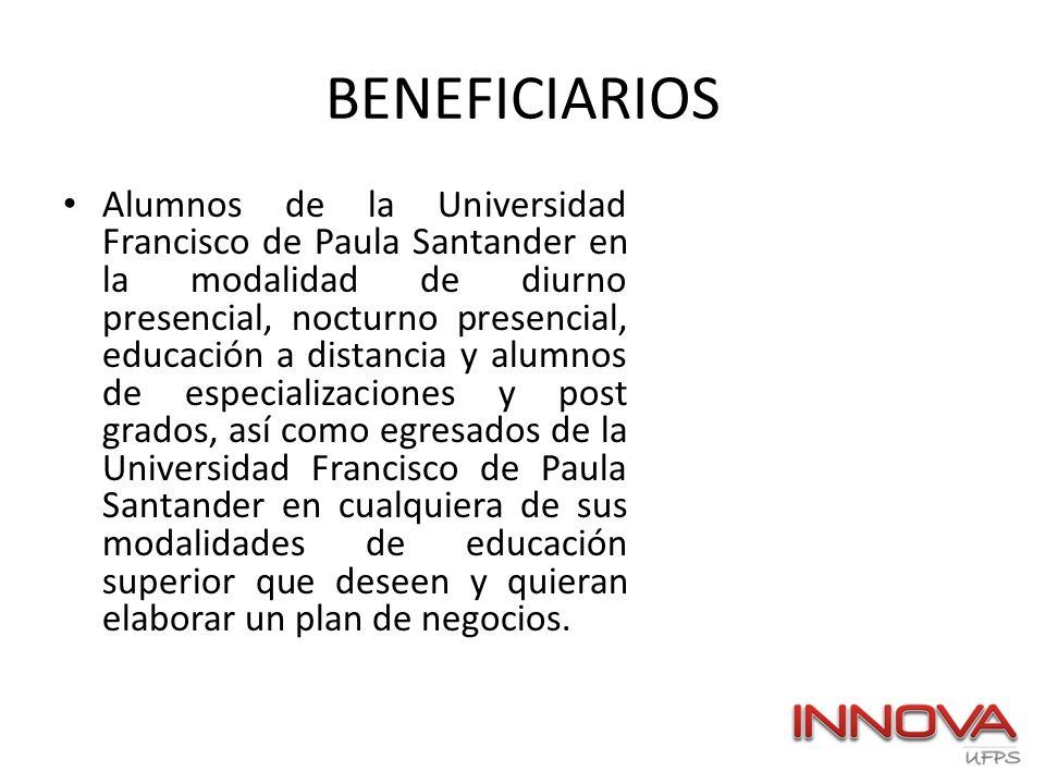 BENEFICIARIOS Alumnos de la Universidad Francisco de Paula Santander en la modalidad de diurno presencial, nocturno presencial, educación a distancia