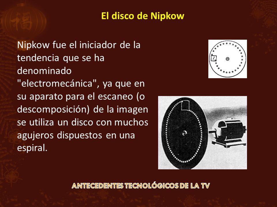 Nipkow fue el iniciador de la tendencia que se ha denominado electromecánica , ya que en su aparato para el escaneo (o descomposición) de la imagen se utiliza un disco con muchos agujeros dispuestos en una espiral.