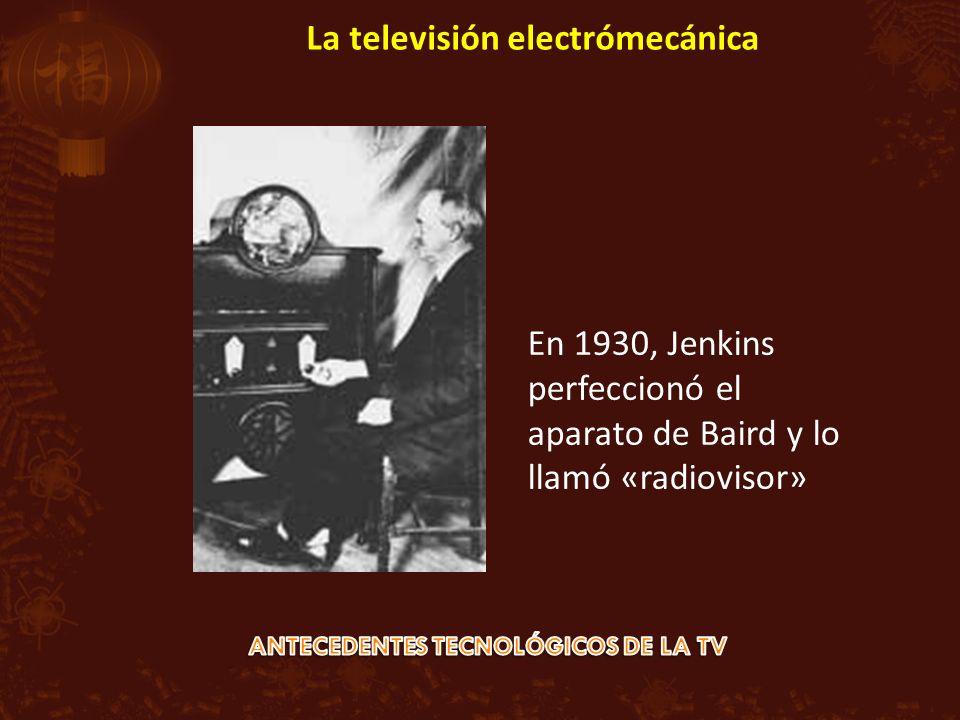 En 1930, Jenkins perfeccionó el aparato de Baird y lo llamó «radiovisor» La televisión electrómecánica