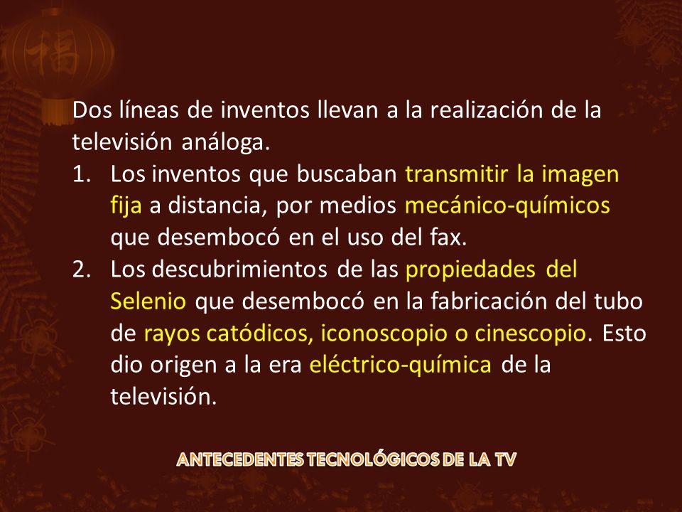 Dos líneas de inventos llevan a la realización de la televisión análoga. 1.Los inventos que buscaban transmitir la imagen fija a distancia, por medios