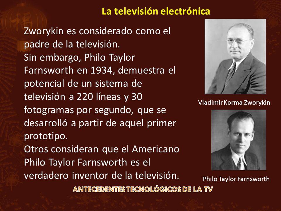 Zworykin es considerado como el padre de la televisión. Sin embargo, Philo Taylor Farnsworth en 1934, demuestra el potencial de un sistema de televisi