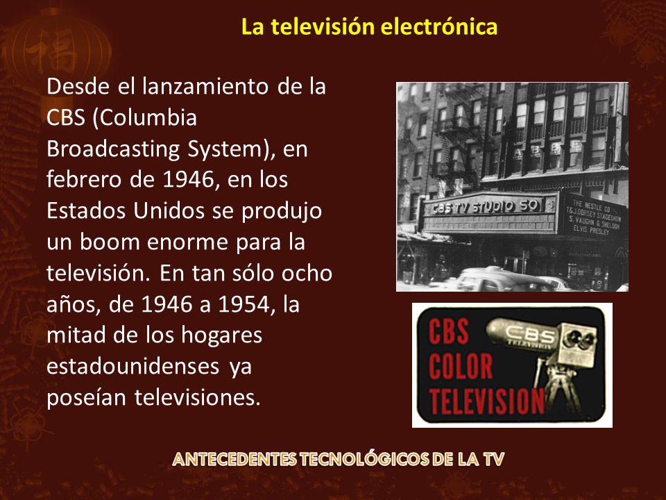 Desde el lanzamiento de la CBS (Columbia Broadcasting System), en febrero de 1946, en los Estados Unidos se produjo un boom enorme para la televisión.