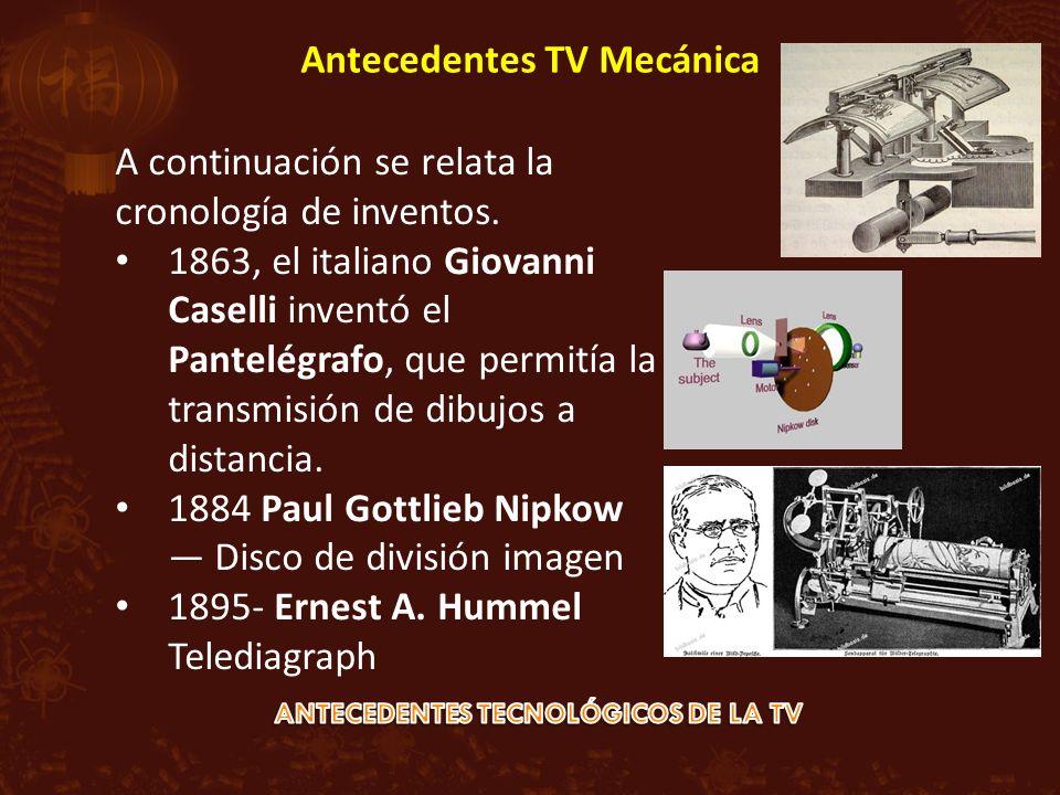 A continuación se relata la cronología de inventos. 1863, el italiano Giovanni Caselli inventó el Pantelégrafo, que permitía la transmisión de dibujos
