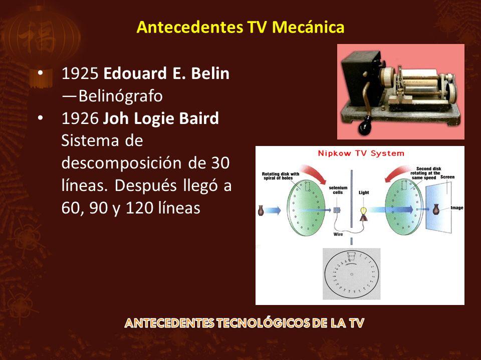 1925 Edouard E. Belin Belinógrafo 1926 Joh Logie Baird Sistema de descomposición de 30 líneas. Después llegó a 60, 90 y 120 líneas Antecedentes TV Mec