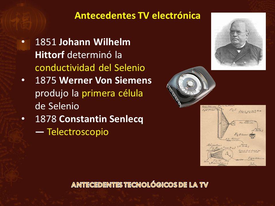 1851 Johann Wilhelm Hittorf determinó la conductividad del Selenio 1875 Werner Von Siemens produjo la primera célula de Selenio 1878 Constantin Senlecq Telectroscopio Antecedentes TV electrónica