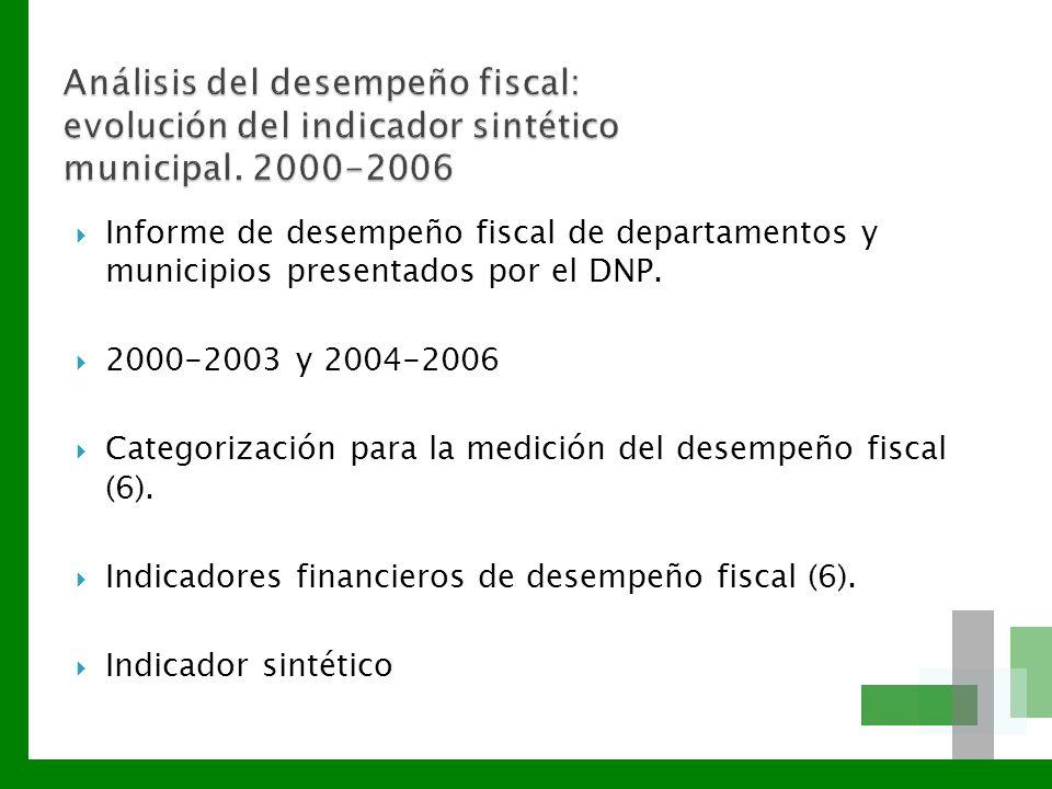 Informe de desempeño fiscal de departamentos y municipios presentados por el DNP. 2000-2003 y 2004-2006 Categorización para la medición del desempeño